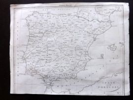European Magazine 1803 Antique Map. Spain and Portugal